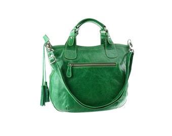 SALE - Green leather handbag, women leather purse, shoulder bag, leather tote, leather bag with tassels, leather diaper bag, school bag