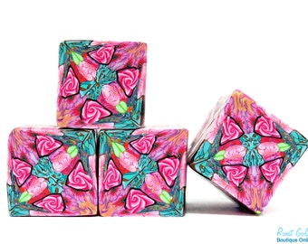 Special price - Pink, Turquoise, Green, Purple and Peach Polymer clay square kaleidoscope cane, raw and unbaked Fimo cane by Ronit Golan PM