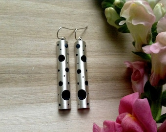 long modern earrings, sterling silver earrings, with lots of holes, swiss cheese holes, planetary earrings, ready to ship