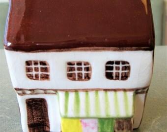 Vintage Ceramic Cottage, English Cottage, Suffolk House, Around the Corner, Made in England, Miniature Cottage, Mini Village, Ceramic House