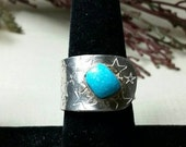 Blue turquoise, handmade sterling silver statement ring, stars unique construction, size 8, ready to ship.