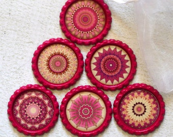 Kaleidoscope Bottlecap Magnets- Pretty Pink and White Super Strong Bottlecap Magnets- Kaleidoscope Magnets