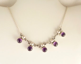 SALE ---- Vintage Multi Round Amethyst Drop Sterling Necklace