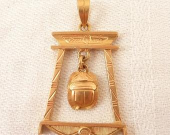 Vintage Egyptian 18K Gold Framed Dangling Scarab Pendant