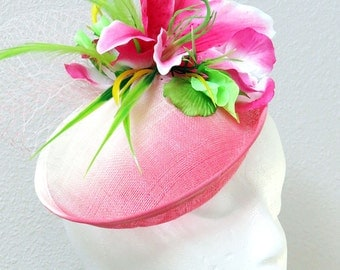 Pink  lily fascinator Kentucky Derby fascinator hat pink stargazer pink  lily Oaks derby fascinator STARGAZER