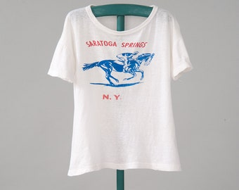 Vintage 1950s Souvenir Tee Shirt, Saratoga Springs NY Racetrack Cotton T Shirt, Kids or Womans Small, Womans Clothing, Tops & Tees, T-shirts