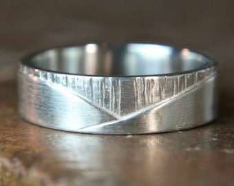 "Recycled sterling silver ""Walk On The Hills"" man's ring. Hand made in the UK"