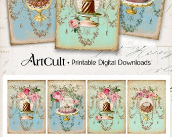 Printable Greeting cards VICTORIAN SWEETS Gift Tags Instant Download Digital Collage Sheet vintage Paper Art Cult scrapbooking graphics