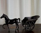 Vintage Horse and Cart, Brass Horse, Walking Horse, Harness Racing, Home Decor, Horse Lovers, Trotter Horse, Buggy, Sculy Trotter