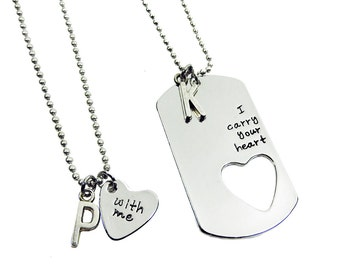 I Carry Your Heart with Me - Couples Matching Necklace, Personalized Name Initial, Heart shaped