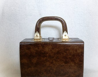 Vintage Lewis Brown Marbled Vinyl Box Purse