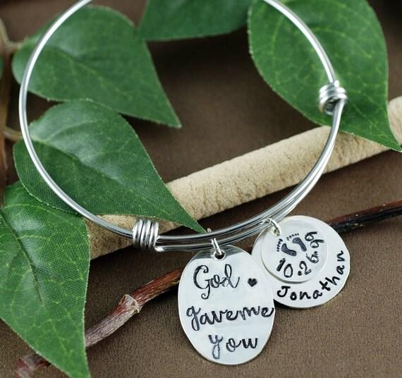 God Gave me you Bracelet, Personalized Mothers Bracelet, Religious Jewelry, Mom Bangle Bracelet, New Mom Jewelry, Mothers Day Gift