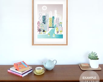 Large Chicago Art Print Skyline Wall decor, Chicago Waterfront, Wall Art, Illinois Poster Illustration, Home Wall Decor. Style: CLPP01