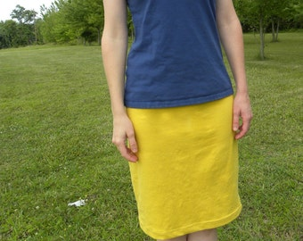 Organic Cotton Jersey Knit Pencil Skirt  Women's Organic Cotton Clothing Made in the USA