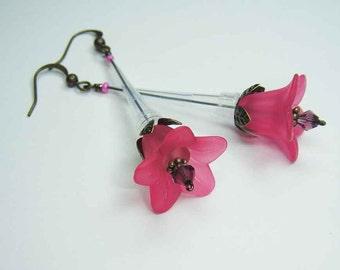 Fushia Pipette Tip Flower Earrings - Chemistry Inspired Jewelry