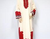 Vintage Caftan Tribal Long Sleeve Lounge Wear Oversized Cotton J Peterman Muslin Casual Size Medium