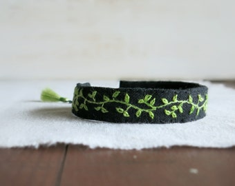 Spring Green Bracelet - Green Gradient Spring Vine Embroidered on Black Linen - Embroidered Cuff Bracelet