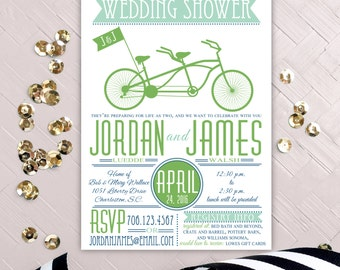 Tandem Bike Couples Wedding Shower Invitation, Bicycle for Two Printable Engagement Party Invite, Casual Outdoor Rehearsal Dinner Invites
