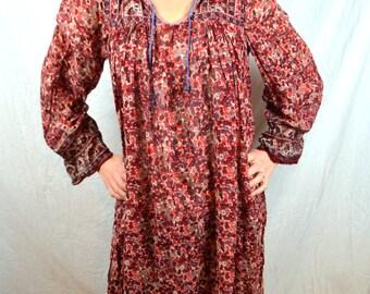 RARE Beautiful Hippie Gauzy Cotton Floral India Boho Dress