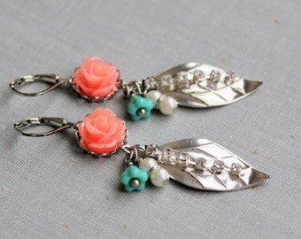 Coral Rose Dangle Earrings. Turquoise and Coral Earrings