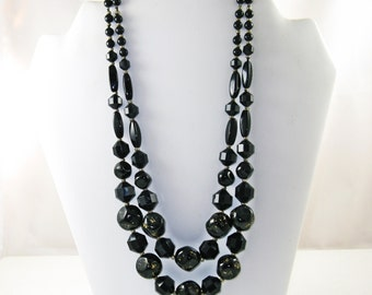 Vintage Germany 1940s Chunky Black and Gold Glass Double Strand Necklace (N-4-1)