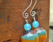 Perfect Sunset Earrings - Artisan-Made Enameled Copper Beads, Czech Glass Beads & Handmade Sterling Ear Wires / Proceeds to Rock Your Speech