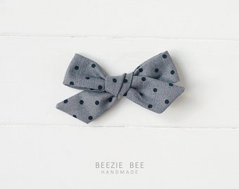 """The Schoolgirl Bow in """"Dark Grey with Black Dots"""" - Hand Tied Fabric Bow - Babies, Toddlers, Girls - Nylon Headband or Clip"""