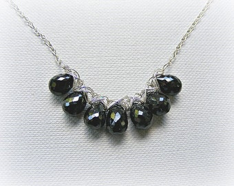 Black necklace, black evening necklace, black spinel necklace in sterling silver, wire wrap necklace, gemstone necklace, spinel silver