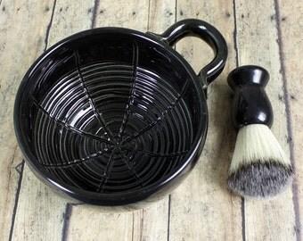 Wet Shaving Mug, Black Ceramic Shave Cup, Handmade Pottery, Father Husband Gift groomsmen gifts for men dad