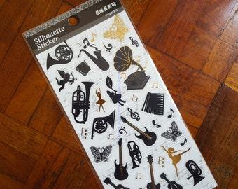 Music stickers, Musical Instruments Silhouettes, Trumpet sticker, Saxophone sticker, Guitar sticker, Drum sticker, Piano, Silhouette sticker
