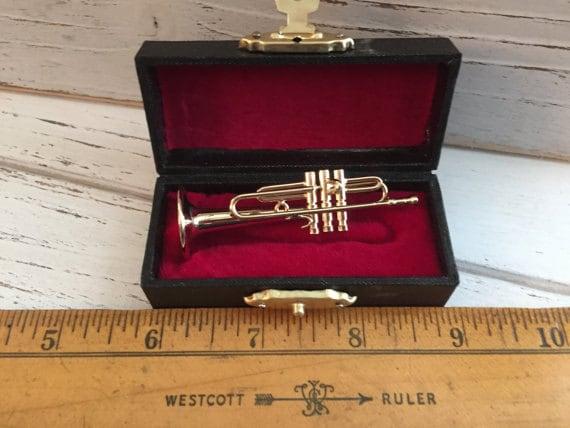 Miniature Trumpet with Case, Mini Accessory, Music, Decor, Mini Instrument, Shelf Sitter, Topper, Decor