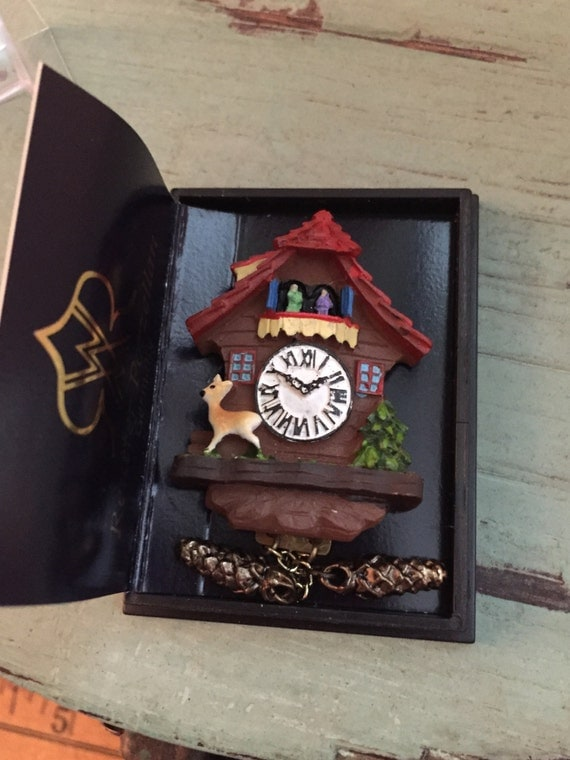 Miniature German Cuckoo Clock, Dollhouse Miniatures, 1:12 Scale by Reutter, Dollhouse Accessory, Decor, Mini Clock, Made in Germany