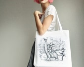 Dino Kitty Tote bag - printed heavyweight canvas tote bag  - by Mab Graves