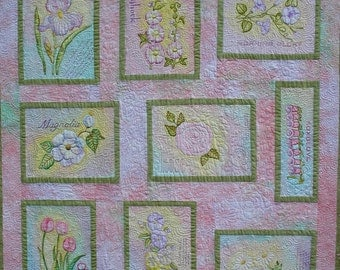 """Art Quilt Wall Hanging Hand Painted Flower Blocks  """"The Painted Garden"""" Quiltsy Handmade"""