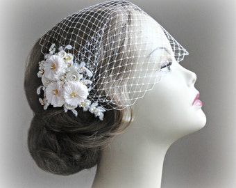 Bird Cage Veil and Fascinator in Light Blush, Light Champagne & Ivory, Gold, Rose Gold, Bandeau Veil with Crystals, Pearls - CAMEO