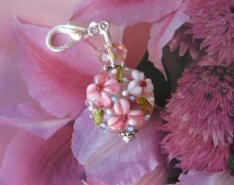 Pink Flower Lampwork & Crystal Zipper Pull, Purse Charm