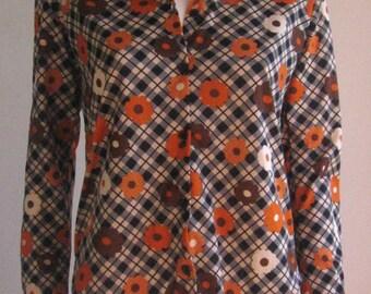 70s vtg flower power blouse