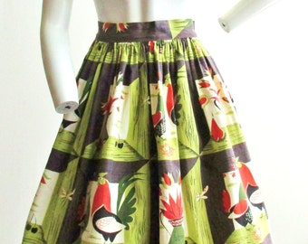 "1950's Novelty Print Chicken and Rooster Skirt 26"" Waist"