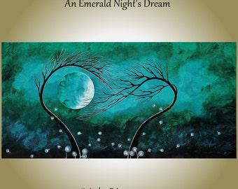 "Large Abstract Painting Trees Green 24"" x 48"" Original 'Emerald Night's Dream' Art Jade 2 Tree Dandelions Green Blue Sky Modern Landscape"