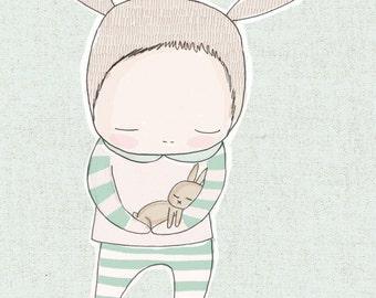 Baby Shower Gift - Gender Neutral, Baby Bunny Rabbit Cuddle - Light Green version
