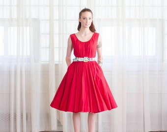 Vintage 1950s Red Dress - 50s Anne Fogarty Dress - Cherry Picked Dress