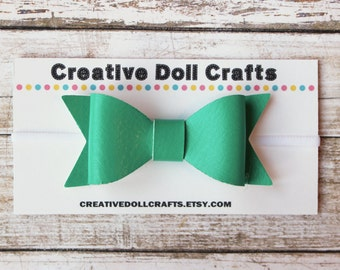 18 Inch Doll Bow Headband, Teal Faux Leather Bow Headband, Leather Bow Headband For Doll