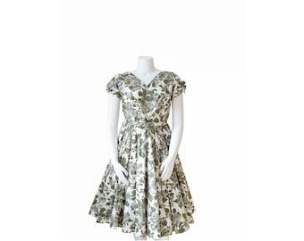1950s Dress • 1950s Party Dress • Green Floral • Large L