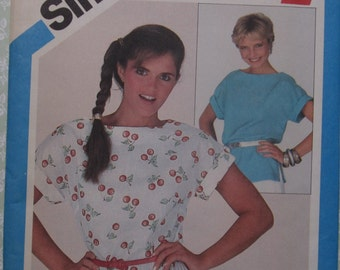 Easy to Sew Misses Pullover Top Size Small 10-12 Vintage 1980s UNCUT Simplicity Pattern 5345