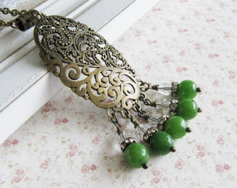 Green jade necklace, large pendant, green jewelry, vintage style jewelry, bronze necklace, for her, Europe