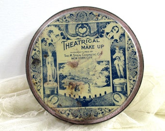 Vintage Stein Theatrical Face Powder Makeup Tin with Powder, M. Stein Cosmetic Co., New York