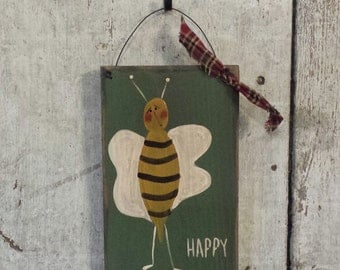 Primitive Country Bee Happy Rustic Decor