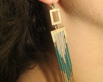 Vintage Turquoise & Gold Chevron Shoulder Duster Dangle Earrings