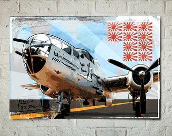Airplane Print - B-25 Mitchell - Airplane Art, WWII vintage Airplane Decor, Military Gift, Aviation Pilot gift, Airplane Wall Art, Art Print