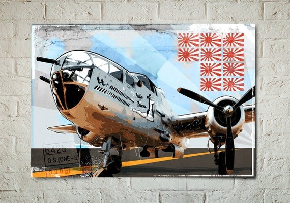 Airplane, Decor, Art Print of a B-25 Mitchell, WWII, Military, Fighter Bomber aircraft, Poster size art print available in multiple sizes.